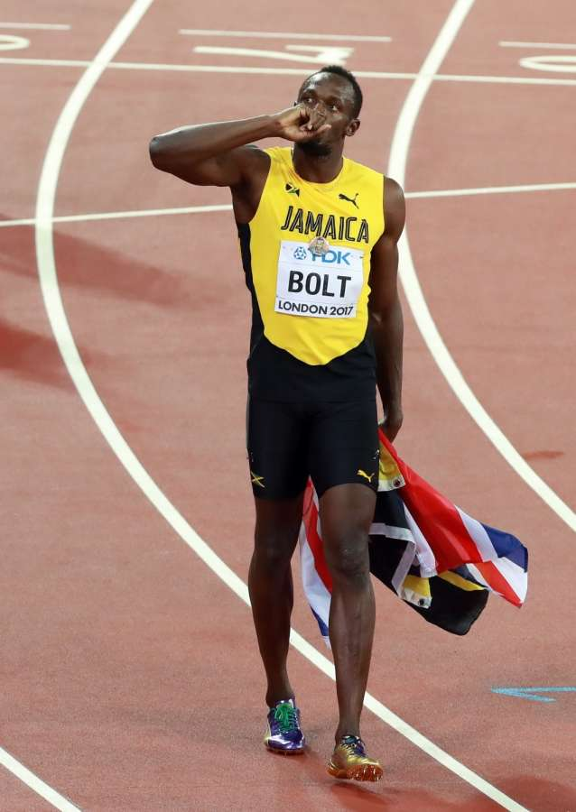 LONDON, Aug. 5, 2017 (Xinhua) -- Usain Bolt of Jamaica leaves after Men's 100m final of the 2017 IAAF World Championships at London Stadium in London, Britain, on Aug. 5, 2017. 2005 world champion Justin Gatlin staged by far the biggest surprise of the London world championships as he edged defending champion Usain Bolt to take the world title here on Saturday. Bolt, running his last world championships, finished with a bronze medal. (Xinhua/Luo huanhuan/IANS) by .