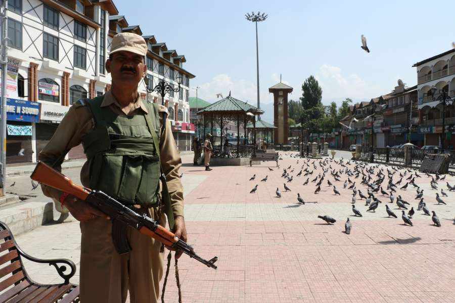Srinagar: Security beefed up after a complete shutdown has been called by the joint resistance leadership (JRF) to protect Article 35A that gives special rights to Jammu and Kashmir on Aug 12, 2017. (Photo: IANS) by .