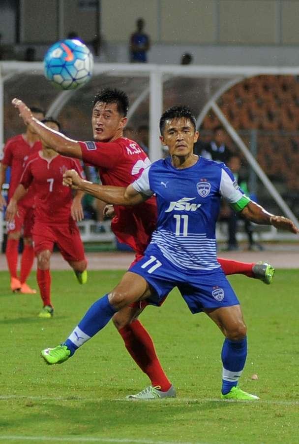 Bengaluru: Bengaluru FC's Sunil Chhetri in action during AFC Cup semifinal match between Bengaluru FC and North Korea at Shree Kanteerava Stadium in Bengaluru on Aug 23, 2017. (Photo: IANS) by .