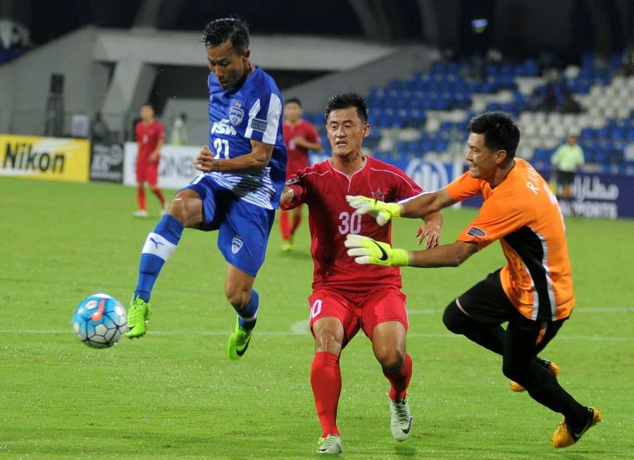 Bengaluru: Players in action during AFC Cup semifinal match between Bengaluru FC and North Korea at Shree Kanteerava Stadium in Bengaluru on Aug 23, 2017. (Photo: IANS) by .