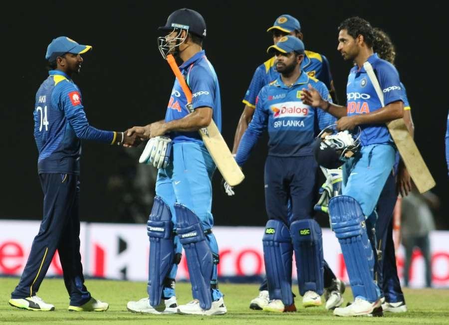 Pallekele: Sri Lankan players return to pavilion after the second one-day international cricket match between India and Sri Lanka in Pallekele, Sri Lanka on Aug. 24, 2017. (Photo: Surjeet Yadav/IANS) by .