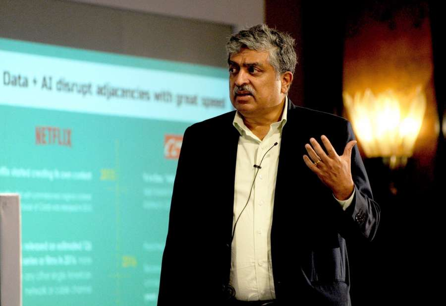 Bengaluru: Former Unique Identification Authority of India (UIDAI) Chairman Nandan Nilekani during the 6th CK Prahalad Memorial Lecture 2017 organised by CII in Bengaluru on Aug 8, 2017. (Photo: IANS) by .