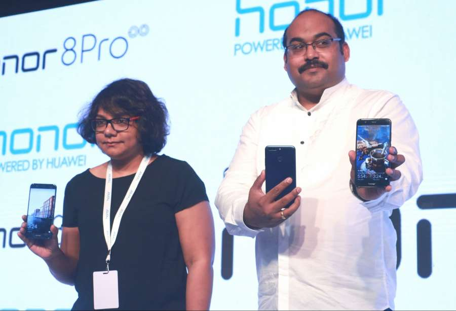 New Delhi: Huawei India-Consumer Business Group Vice-President Sales P Sanjeev at the launch of 'Honor 8 Pro' in New Delhi on July 6, 2017. (Photo: IANS) by .