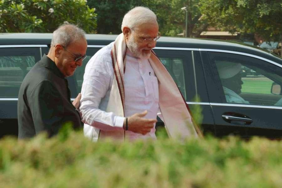 President Pranab Mukherjee with Prime Minister Narendra Modi at Forecourt of Rashtrapati Bhavan on May 16, 2017. (Photo: IANS/RB). by .
