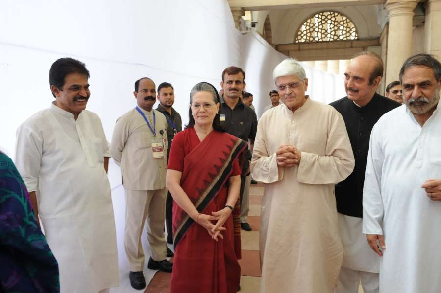 New Delhi: Congress President Sonia Gandhi along with oppositions vice-presidential candidate Gopalkrishna Gandhi after casting their votes for vice presidential election at Parliament in New Delhi on Aug 5, 2017. ​Also seen ​Congress leader Ghulam Nabi Azad​. ​​(Photo: IANS) by .