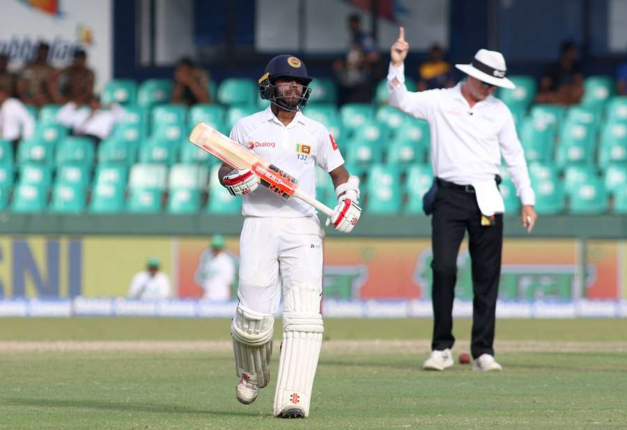 Colombo: Sri Lanka's Kusal Mendis walks back to the pavilion after getting dismissed on Day 3 of the second test match between India and Sri Lanka at Sinhalese Sports Club Ground in Colombo, Sri Lanka on Aug 5, 2017. (Photo: Surjeet Yadav/IANS) by .