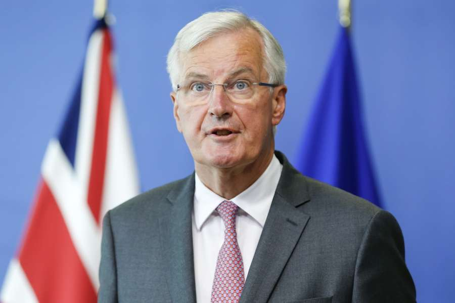 "BRUSSELS, Aug. 28, 2017 (Xinhua) -- European Union's chief Brexit negotiator Michel Barnier addresses the media prior to the third round of Brexit talks in Brussels, Belgium, Aug. 28, 2017. The European Union (EU) on Monday urged Britain to take a more serious stance and quickly provide official positions on all Brexit issues as the latter called for more ""flexibility and imagination"" on both sides in the third round talks. (Xinhua/Ye Pingfan/IANS) by ."
