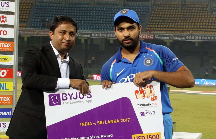 Colombo: India's Rohit Sharma receives Maximum Sixes awards during the fourth ODI match between India and Sri Lanka at R.Premadasa Stadium in Colombo, Sri Lanka on Aug 31, 2017. (Photo: Surjeet Yadav/IANS) by .