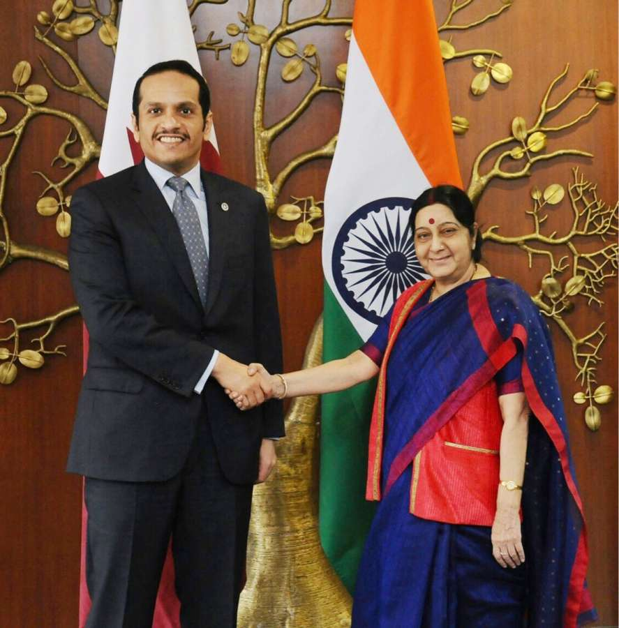New Delhi: Qatar's Minister of Foreign Affairs Sheikh Mohammed Bin Abdul Rahman Al-Thani calls on External Affairs Minister Sushma Swaraj during his two-day visit to India in New Delhi on Aug 26, 2017. (Photo: IANS/Twitter@MEAIndia) by .
