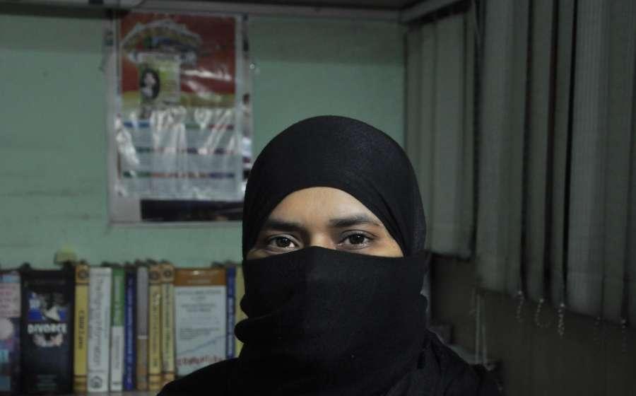 Kolkata: Triple talaq petitioner Ishrat Jahan at her advocate Nazia Ilahi Khan's chamber in Kolkata on Aug 25, 2017. (Photo: Kuntal Chakrabarty/IANS) by .