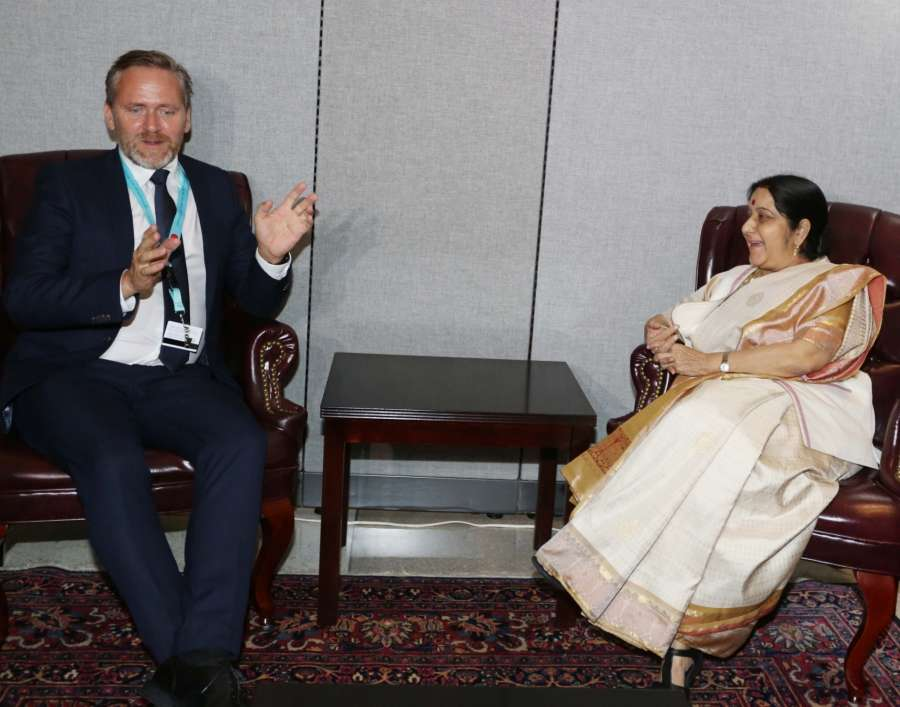 New York: External Affairs Minister Sushma Swaraj meeting Foreign Minister of Denmark Anders Samuelsen at the United Nations in New York on Sept. 18, 2017. (Photo: Mohammed Jaffer/IANS) by .