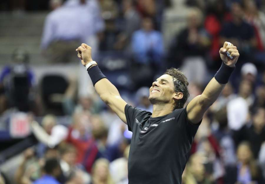 NEW YORK, Sept. 9, 2017 (Xinhua) -- Rafael Nadal of Spain celebrates after winning the men's singles semifinal match against Juan Martin del Potro of Argentinaat the 2017 U.S. Open in New York, the United States, Sept. 8, 2017. Rafael Nadal won 3-1 to enter the final. (Xinhua/Wang Ying/IANS) by .