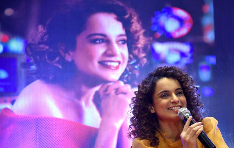 "Bengaluru: Actress Kangana Ranaut addresses during a press conference to promote her upcoming film ""Simran"" in Bengaluru on Sept 12, 2017. (Photo: IANS) by ."