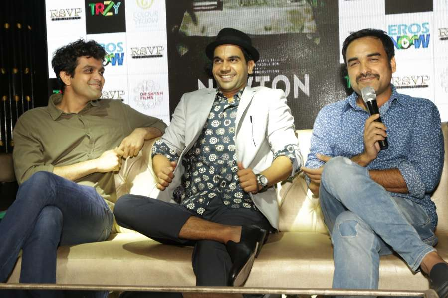 "New Delhi: Actor Rajkummar Rao, Pankaj Tripathi and screenwriter Amit Masurkar during a press conference to promote their upcoming film ""Newton"" in New Delhi on Sept 18, 2017. (Photo: Amlan Paliwal/IANS) by ."