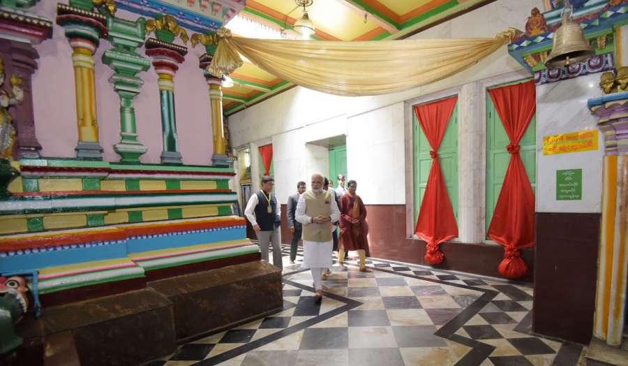 Yangon: Prime Minister Narendra Modi during his visit to Kalibari Temple, in Yangon, Myanmar on Sept 7, 2017. (Photo: IANS/PIB) by .