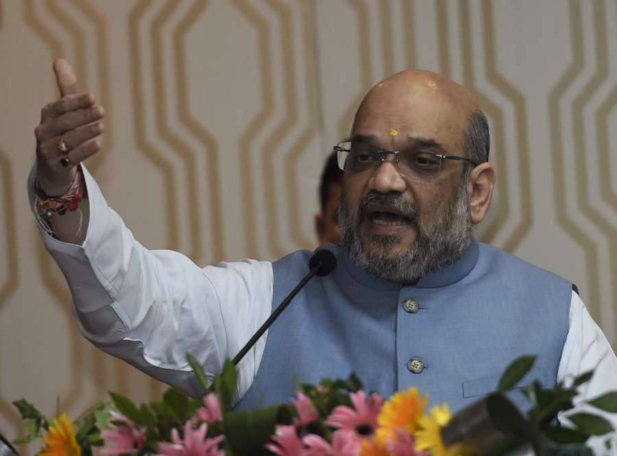 New Delhi: BJP president Amit Shah addresses during the second Conclave of North-East Democratic Alliance (NEDA) in New Delhi on Sept 5, 2017. (Photo: IANS) by .