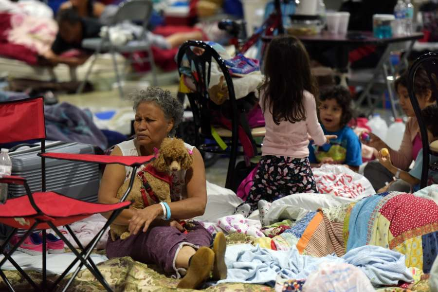 "MIAMI, Sept. 10, 2017 (Xinhua) -- People are seen at a shelter at the Miami-Dade County Fair Expo Center in Miami, as hurricane ""Irma"" is approaching, in Miami, Florida, the United States, Sept. 9, 2017. About 5.6 million people in Florida have been ordered to evacuate, while 54,000 Floridians have taken shelter in 320 shelters across Florida. Forecasters expect the hurricane to hit Florida early Sunday morning. (Xinhua/Yin Bogu/IANS) by ."