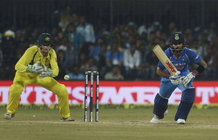 Indore: Indian skipper Virat Kohli in action during the third ODI cricket match between India and Australia at Holkar Cricket Stadium in Indore on Sept 24, 2017. (Photo: Surjeet Yadav/IANS) by .