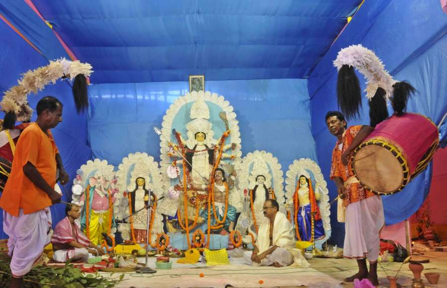 Patna: An idol of Goddess Durga during Durga Puja celebrations at a pandal in Kankarbagh, Patna on Sept 27, 2017. (Photo: IANS) by .