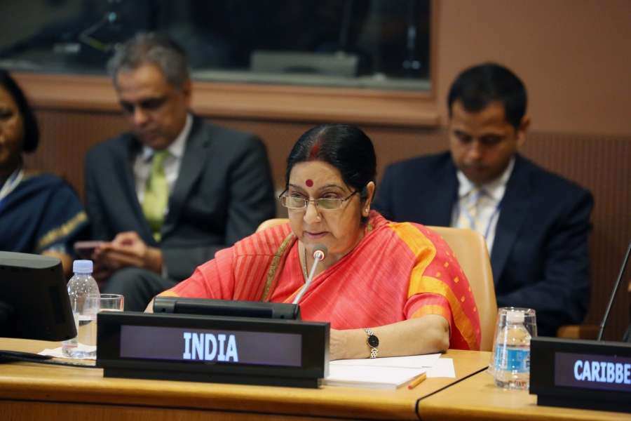 New York: External Affairs Minister Sushma Swaraj attends Caribbean Community (CARICOM) meeting at the United Nations headquarters in New York on Sept 19, 2017. (Photo: Mohammed Jaffer/IANS) by .