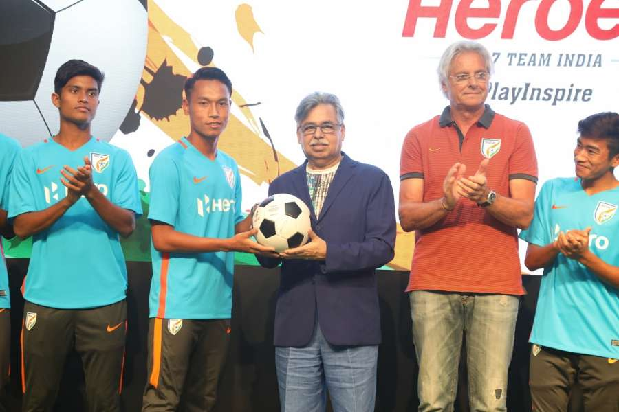 Gurugram: Hero MotoCorp Chairman, MD and CEO Pawan Munjal presents Indian U-17 team Captain Amarjit Singh Kiyam with a football, as a token of best wishes for the upcoming FIFA U-17 World Cup India 2017 during a programme in Gurugram. Also seen Indian U-17 team Coach Luis Norton de Matos. (Photo: IANS) by .