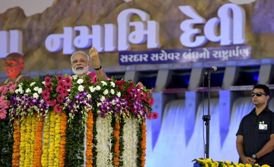 Dabhoi: Prime Minister Narendra Modi addresses at a public meeting in Dabhoi, Gujrat on Sept 17, 2017. (Photo: IANS/PIB) by .
