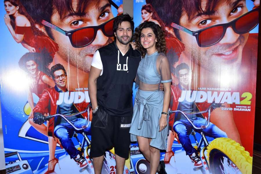 """Jaipur: Actors Varun Dhawan and Taapsee Pannu during a press conference to promote their upcoming film """"Judwaa 2"""" in Jaipur on Sept 7, 2017. (Photo: Ravi Shankar Vyas/IANS) by ."""
