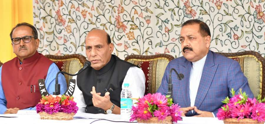 Jammu: Union Home Minister Rajnath Singh (C) addresses a press conference in Jammu on Sept 11, 2017. Also seen Union MoS North Eastern Region (I/C), Prime Minister Office, Personnel, Public Grievances and Pensions, Atomic Energy and Space Jitendra Singh and Jammu and Kashmir Deputy Chief Minister Nirmal Singh. (Photo: IANS) by .