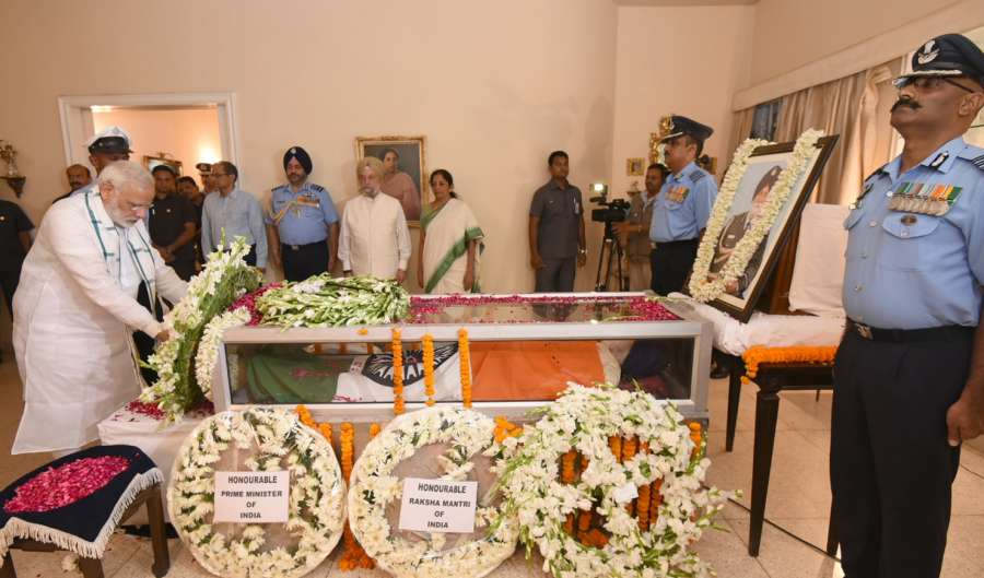 New Delhi: Prime Minister Narendra Modi lays wreath on the mortal remains of Marshal of Air Force Arjan Singh at his 7A, Kautilya Marg residence in New Delhi on Sept 17, 2017. Marshal of the Air Force Arjan Singh died on Sept 16, 2017 following a cardiac arrest. (Photo: IANS/PIB) by .