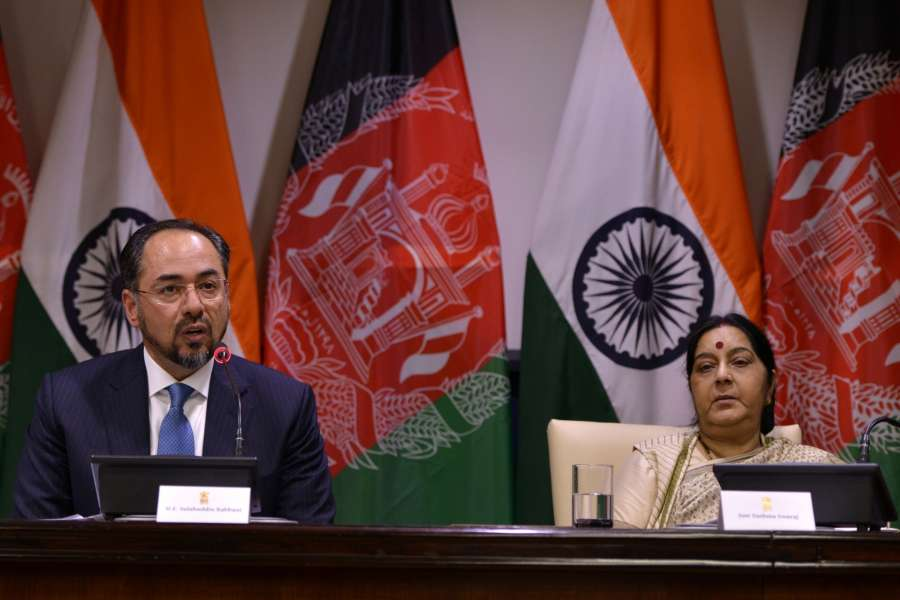 New Delhi: External Affairs Minister Sushma Swaraj and Afghanistan Foreign Minister Salahuddin Rabbani during a joint press conference in New Delhi on Sept 11, 2017. (Photo: IANS) by .