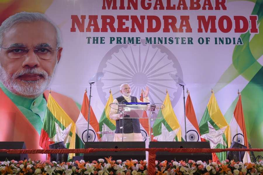 Yangon: Prime Minister Narendra Modi addresses at the Indian Community event in Yangon, Myanmar on Sept 6, 2017. (Photo: IANS/PIB) by .