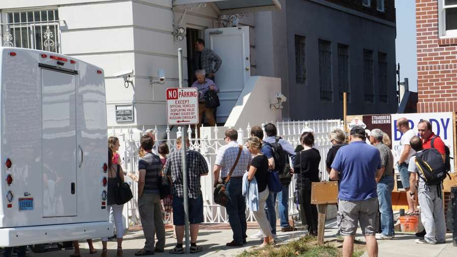 SAN FRANCISCO, Sept. 1, 2017 (Xinhua) -- People wait to enter the visa office of the Russian Consulate General in San Francisco Aug. 31, 2017. Russia has been ordered to close its consulate general in San Francisco, the U.S. State Department said on Thursday. (Xinhua/Xu Yong/IANS) by .