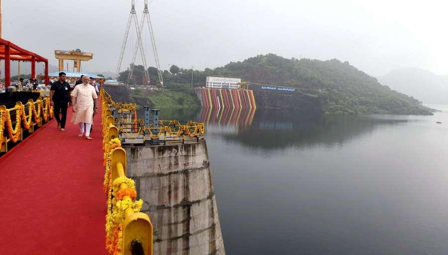 Gujarat: Prime Minister Narendra Modi at the Sardar Sarovar Dam in Gujarat on Sept 17, 2017. (Photo: IANS/PIB) by .