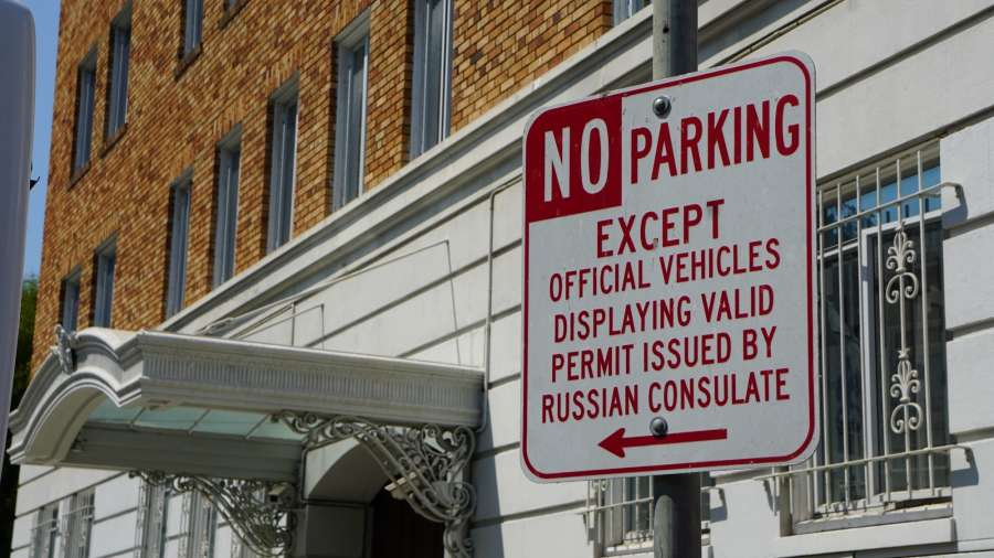 SAN FRANCISCO, Sept. 1, 2017 (Xinhua) -- A No Parking sign is seen outside the Russian Consulate General in San Francisco Aug. 31, 2017. Russia has been ordered to close its consulate general in San Francisco, the U.S. State Department said on Thursday. (Xinhua/Xu Yong/IANS) by .
