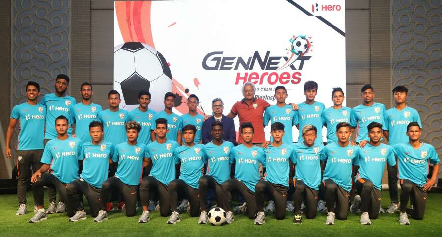 Gurugram: Hero MotoCorp Chairman, MD and CEO Pawan Munjal, Indian U-17 team Coach Luis Norton de Matos with the Indian U-17 team during a programme in Gurugram. (Photo: IANS) by .