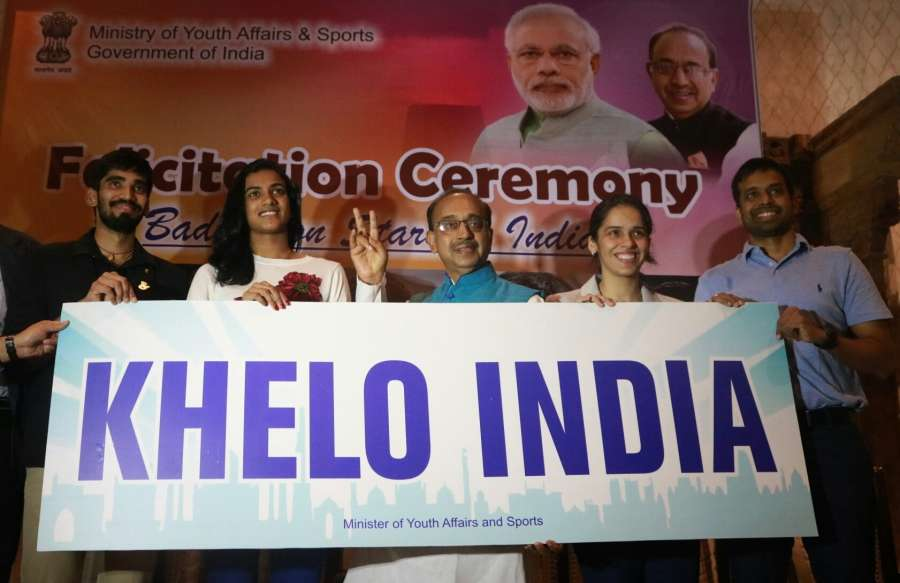 New Delhi: Union Sports Minister Vijay Goel with Indian shuttlers P.V. Sindhu, Saina Nehwal, Srikant Kidambi and Indian Badminton team Chief National Coach P. Gopichand during a felicitation ceremony in New Delhi on Aug 31, 2017. (Photo: IANS) by .