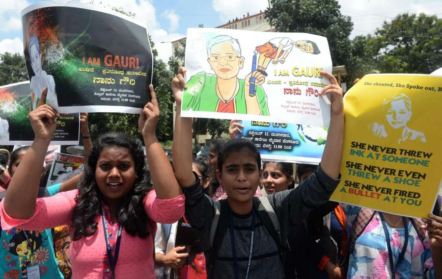 Bengaluru: People participate in a protest rally against the killing of journalist turned activist Gauri Lankesh at Central College Ground in Bengaluru on Sept 12, 2017. (Photo: IANS) by .