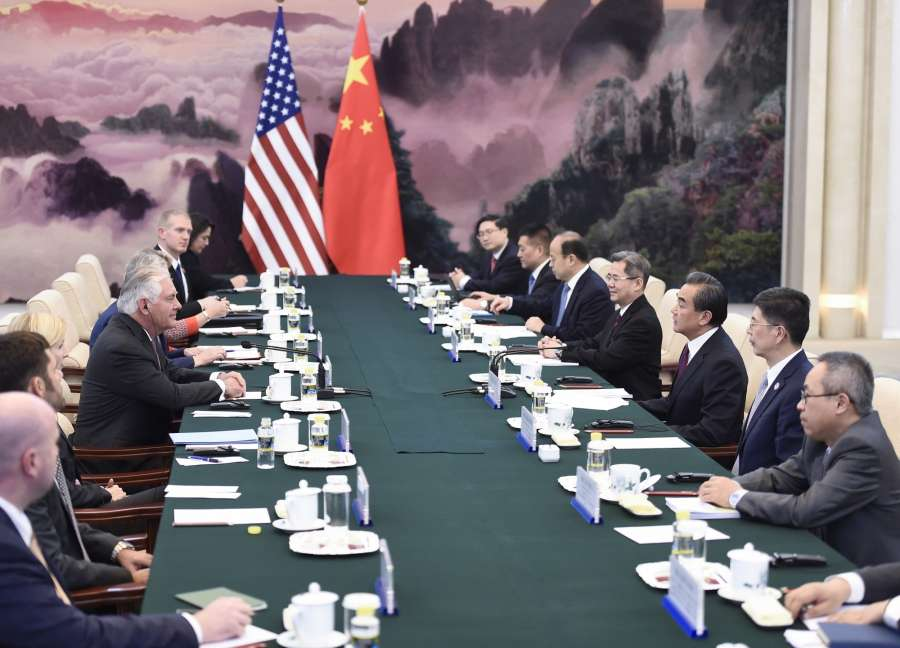 BEIJING, Sept. 30, 2017 (Xinhua) -- Chinese Foreign Minister Wang Yi (3rd R) holds talks with visiting U.S. Secretary of State Rex Tillerson (3rd L) in Beijing, capital of China, Sept. 30, 2017. (Xinhua/Yan Yan/IANS) by .
