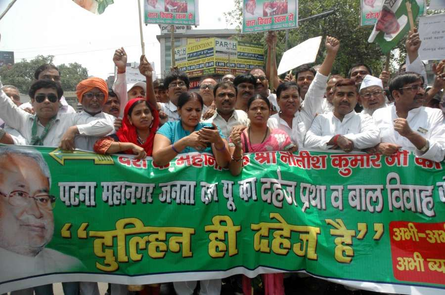 Patna: JD(U) workers stage a demonstration against dowry and child marriage in Patna on May 7, 2017. (Photo: IANS) by .