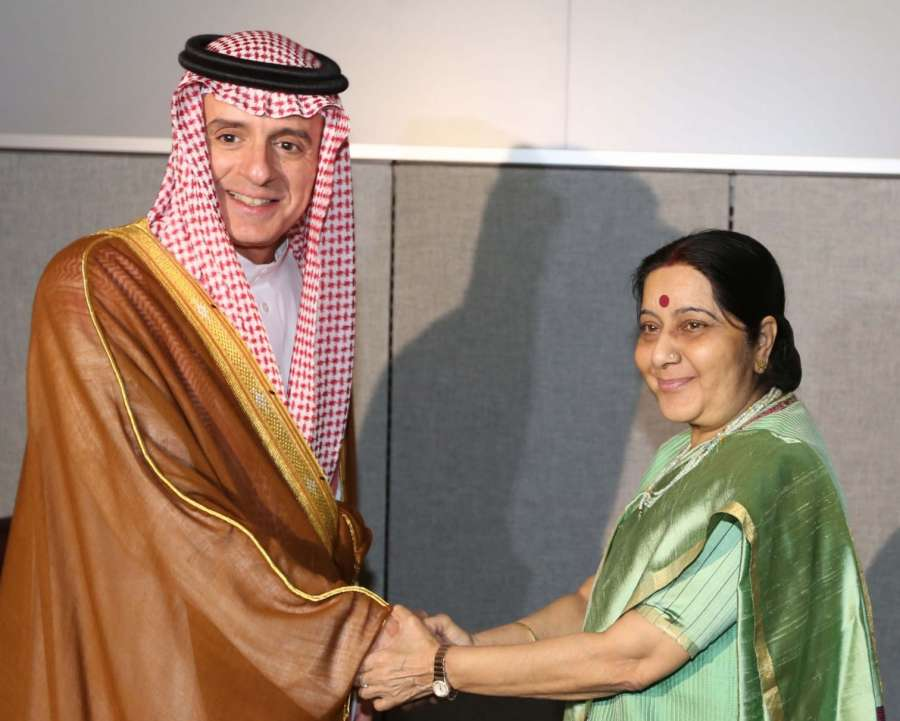 New York: External Affairs Minister Sushma Swaraj meets Saudi Arabia's Foreign Minister Adel bin Ahmed Al-Jubeir on the sidelines of the annual UN General Assembly (UNGA) session at the United Nations headquarters in New York on Sept 20, 2017. (Photo: Moh by .