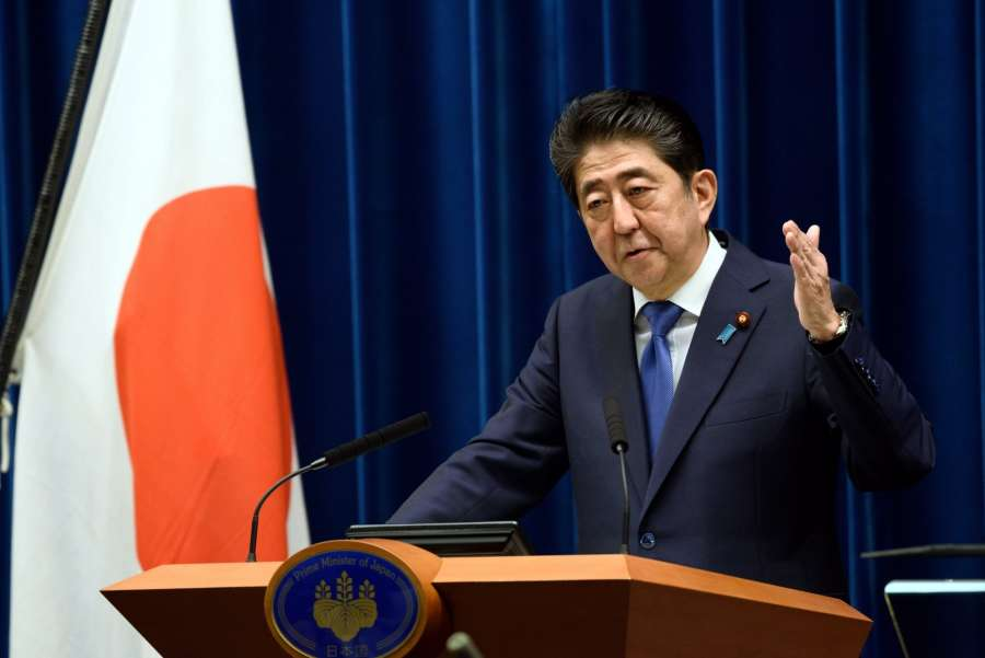TOKYO, Sept. 25, 2017 (Xinhua) -- Japanese Prime Minister Shinzo Abe attends a press conference in Tokyo, Japan, on Sept. 25, 2017. Japanese Prime Minister Shinzo Abe announced officially at a press conference on Monday that he will dissolve the House of Representatives when it convenes Thursday to pave way for a general election. (Xinhua/IANS) by .