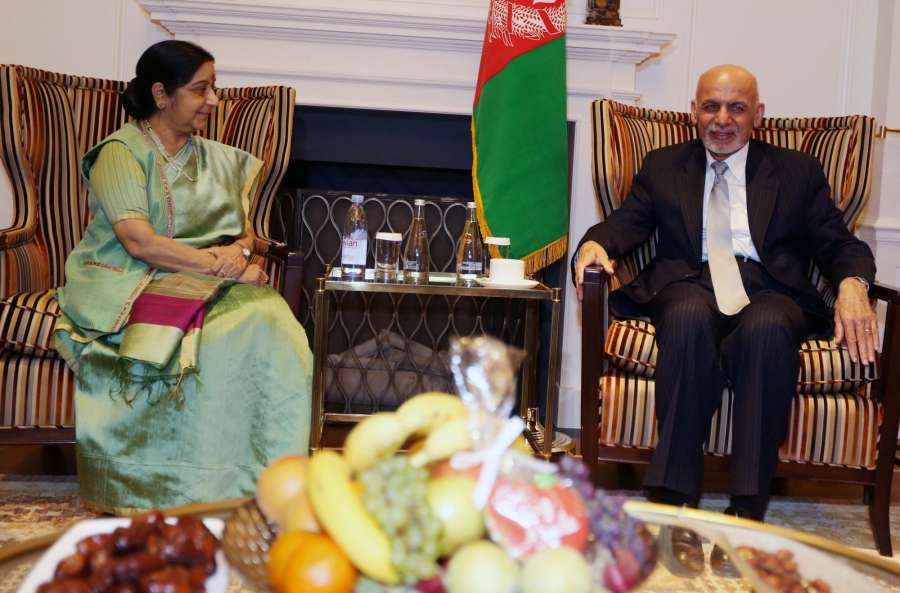 New York: External Affairs Minister Sushma Swaraj meeting AfghanistanPresident Ashraf Ghani at United Nations in New York on Sept. 20, 2017. (Photo: Mohammed Jaffer/IANS) by .