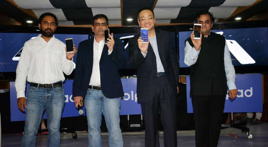 Dubai: (L to R) Sumod George Zachariah, Category Head, Amazon India; Syed Tajuddin, CEO, Coolpad India; James Du, CEO, Coolpad Global and Anirudh Dhoot, Director, Videocon during the launch of Coolpad Cool Play 6 in Dubai on Aug. 20, 2017. Coolpad Cool Play 6 smartphone is powered by 1.95Ghz Octa-core Qualcomm Snapdragon 653 processor and packs 6GB of RAM, making it the most affordable smartphone with 6GB RAM in India. (Photo: Partha Mitra/IANS) by .