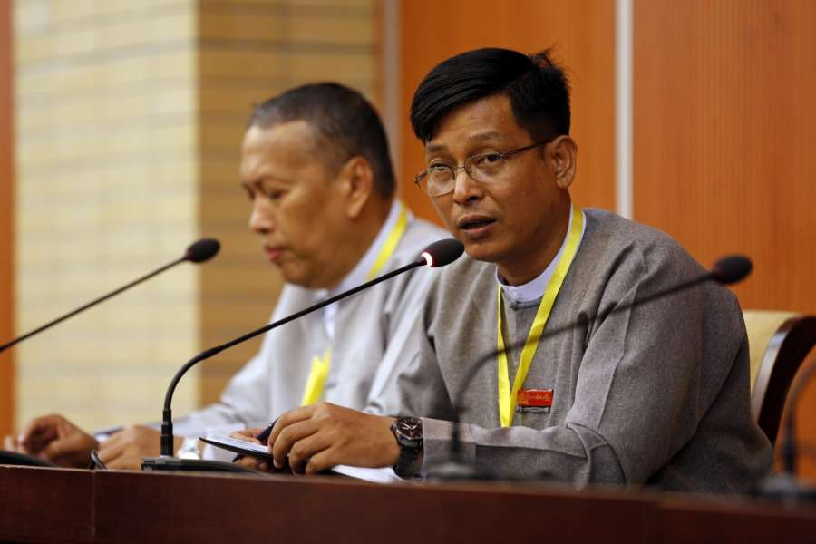 NAY PYI TAW, May 28, 2017 (Xinhua) -- U Zaw Htay (R), Director-General of the Office of the State Counselor's Office, speaks to media at a press conference on the meeting of the Union Peace Dialogue Joint Committee (UPDJC) during the Second Meeting of Myanmar's 21st Century Panglong Peace Conference, in Nay Pyi Taw, Myanmar, May 28, 2017. No agreement has been reached on the issue of non-secession of states from the union with a meeting of Myanmar's Union Peace Dialogue Joint Committee (UPDJC) on late Sunday. (Xinhua/U Aung/IANS) (lrz) by .