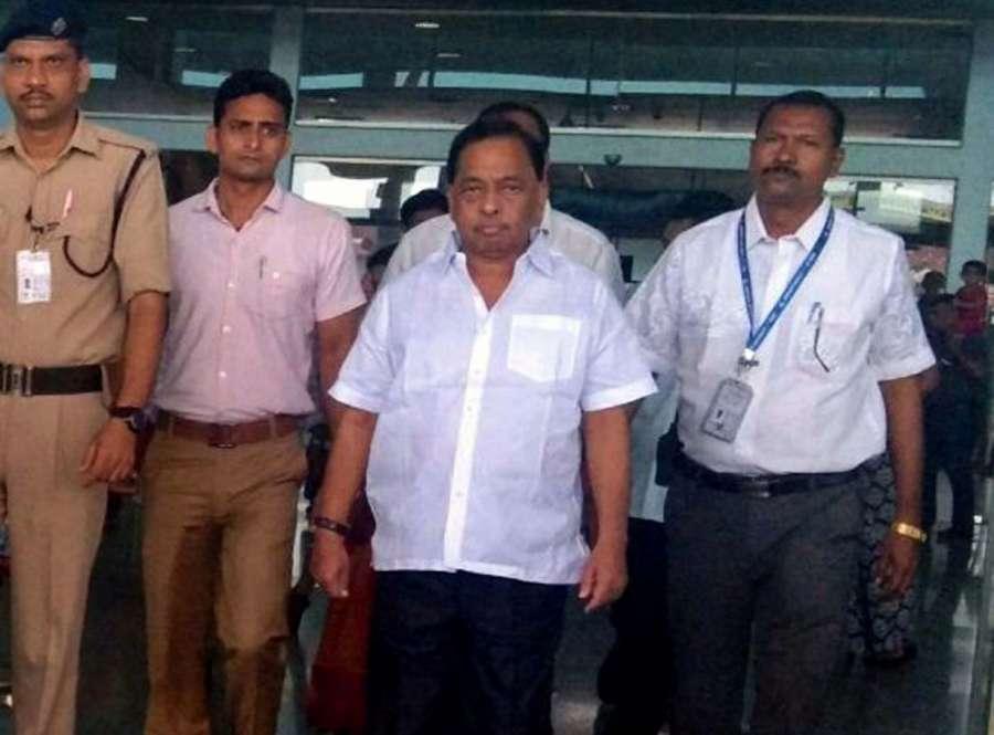 Dabolim: Congress leader Narayan Rane arrives at the Goa International Airport in Dabolim, Goa on Sept 18, 2017. (Photo: IANS) by .