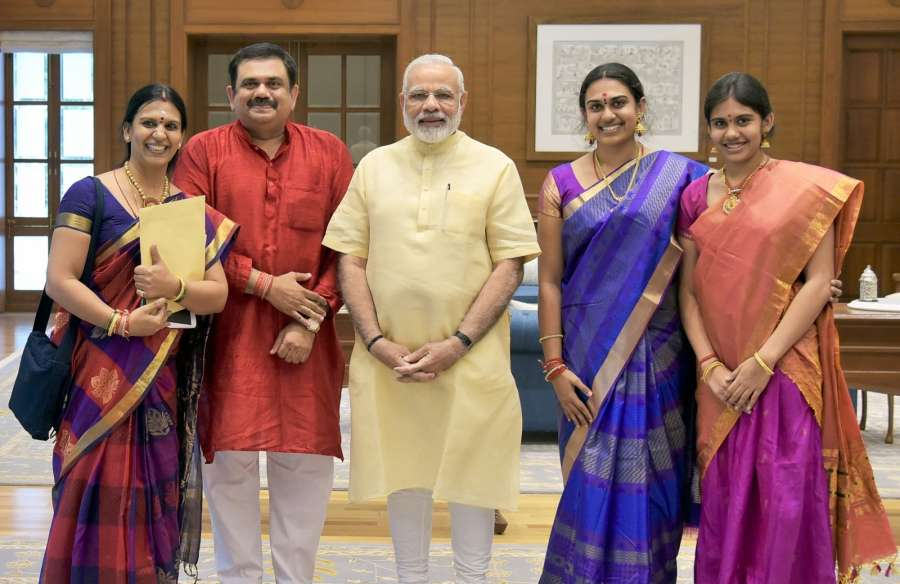 New Delhi: The family members of Bharat Ratna MS Subbulakshmi meet Prime Minister Narendra Modi in New Delhi on Sept 19, 2017. (Photo: IANS/PIB) by .