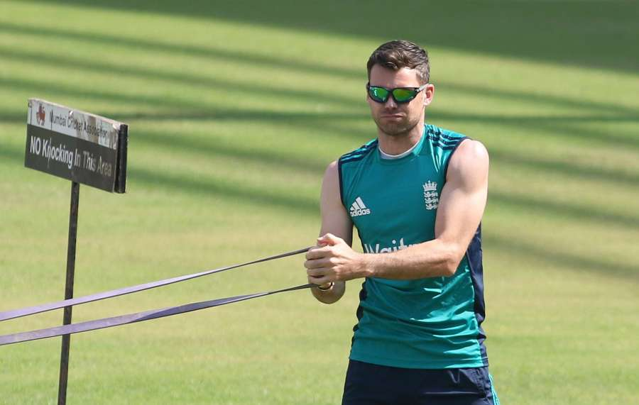 Mumbai: England's James Anderson during a practice session ahead of the fourth Test cricket match between India and England at the Wankhede Stadium in Mumbai on Dec 7, 2016. (Photo: Surjeet Yadav/IANS) by .