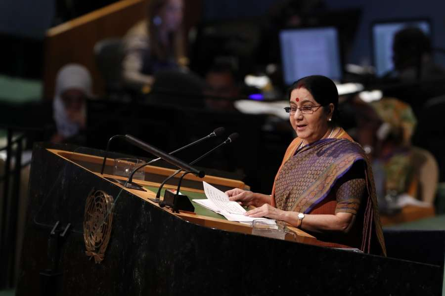 UNITED NATIONS, Sept. 23, 2017 (Xinhua) -- Indian External Affairs Minister Sushma Swaraj addresses the General Debate of the 72nd session of the United Nations General Assembly at the UN headquarters in New York, Sept. 23, 2017. (Xinhua/Li Muzi/IANS) by .