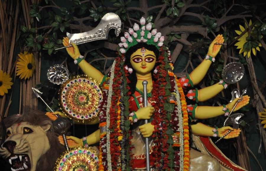Kolkata: An idol of Goddess Durga at EC Block pandal of Salt Lake in Kolkata on Sept 28, 2017. (Photo: Kuntal Chakrabarty/IANS) by .