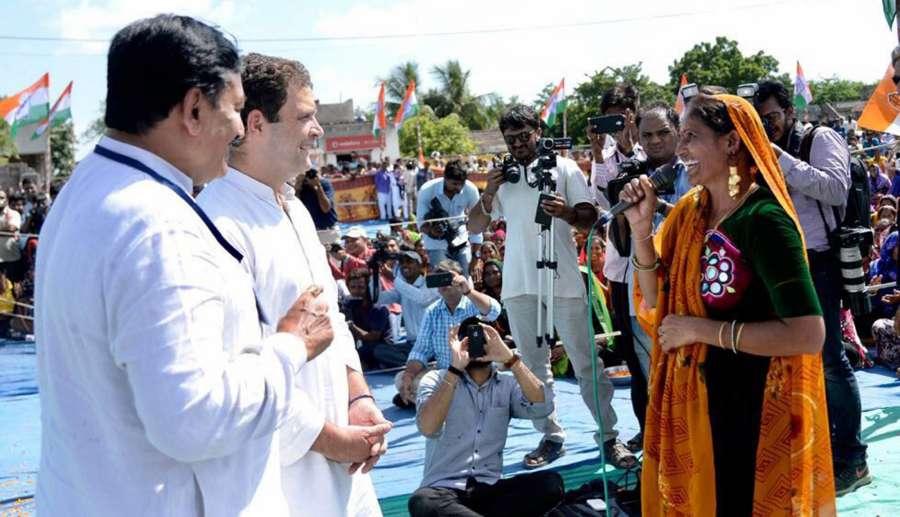 Hanjadapar: Congress Vice President Rahul Gandhi during a road show at Hanjadapar village in Dwarka district of Gujarat on Sept 25, 2017. (Photo: IANS) by .